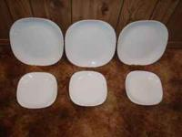 6 pieces of white Corningware Casual China text or