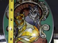 Type: Decor Type: Antiques Cat Stained Glass