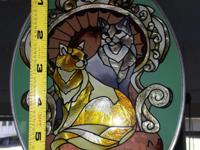 Cat Stained Glass Suncatcher Measurements in