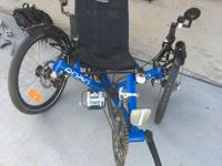 Like new blue Catrike for sale. Very low miles,
