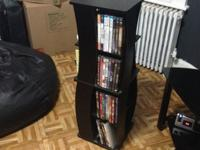It rotates 360 degrees. Each slot holds up to 9 dvds,