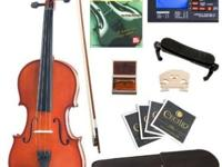 Cecilio CVN-100 Solid Wood Student Violin with Tuner