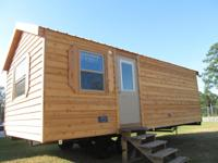 This cabin is 12'X24' and is built on a chassis