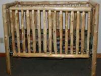 Ceder Pine log baby crib..Meets all standard baby