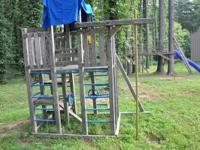 2 tower, 12ft., 4 swing jungle gym bar ladder, two