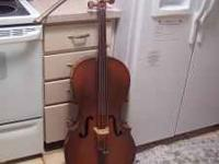 This cello is in good condition and has all new strings