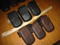 Genuine shark skin leather cellular phone holsters. Top