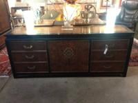 Century Mid Century Nine Drawer Burled Dresser Asian