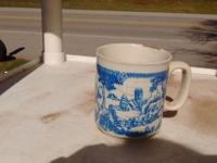Cup with blue painted English country , made in England