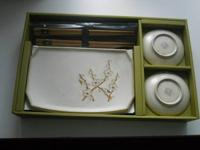 Cherry blossom 6 piece Sushi Plate set includes 2