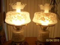 Working lamp with shade. Lamp base is ceramic, with a