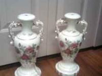 Pretty, shabby chic cream colored lamp bases with