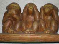 MONKEY'S CERAMIC FIGURINE SPEAK NO EVIL HEAR NO EVIL