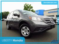 Certified. Gray 2014 Honda CR-V LX AWD 5-Speed