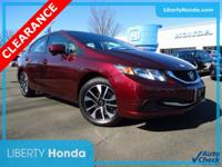 Certified. Red 2015 Honda Civic EX FWD CVT 1.8L I4 SOHC