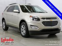 Certified. 2016 Chevrolet Equinox LT Champagne Silver