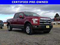 From mountains to mud, this Red 2016 Ford F-150 Lariat