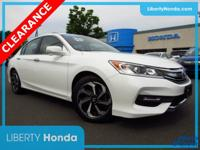 Certified. White 2016 Honda Accord EX-L FWD CVT 2.4L I4