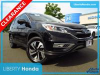 Certified. Black 2016 Honda CR-V Touring AWD CVT 2.4L