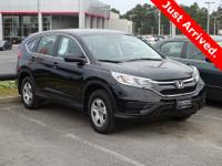 Certified. Crystal Black Pearl 2016 Honda CR-V LX FWD