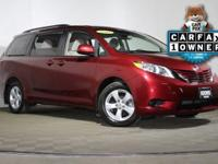 2016 Toyota Sienna LE in Salsa Red Pearl, 3RD ROW
