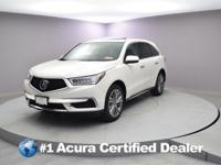 Certified. 2017 Acura MDX 3.5L CARFAX One-Owner. Priced