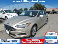 Certified. White Gold 2017 Ford Fusion SE FWD 6-Speed