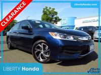 Certified. Blue 2017 Honda Accord LX FWD CVT 2.4L I4