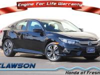 Certified. Black 2017 Honda Civic EX-T FWD CVT 1.5L I-4