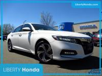 Certified. White 2018 Honda Accord EX-L FWD CVT 1.5T I4