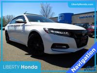 Certified. White 2018 Honda Accord Touring 2.0T FWD