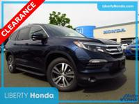 Certified. Blue 2018 Honda Pilot EX AWD 6-Speed