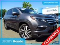 Certified. Gray 2018 Honda Pilot Touring AWD 9-Speed