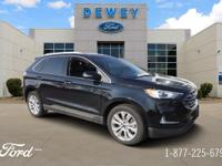 Certified. Agate Black Metallic 2019 Ford Edge Titanium
