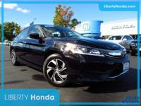 Certified. Black 2016 Honda Accord LX FWD CVT 2.4L I4