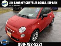 Certified. 2017 Fiat 500 Pop FWDCARFAX One-Owner. Clean
