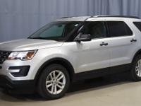 Certified. Silver 2017 Ford Explorer FWD Automatic with