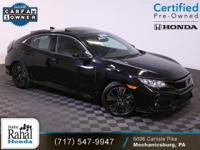 2018 Honda Civic EX in Crystal Black Pearl with Black
