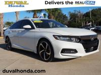 This 2019 Honda Accord Sport in Platinum White Pearl