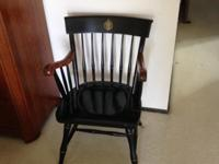 Heavy wooden Naval Academy chair th matching cushion.