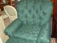 CHAIR WITH MATCHING OTTOMAN IN A EMERALD GREEN FABRIC