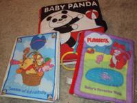 3 fabric books & 3 board books-- all pages there and in