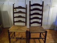 "chairs( 2 )ladderback one is 42"" tall AND HAS A DATE ON"