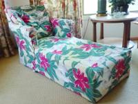 Vintage Chaise Lounge, original quilted upholstery is