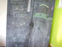Storage cabinet with chalkboard doors! Dimensions are