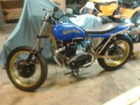 Here we have a vintage flat track motorcycle. It starts
