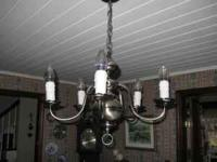 Pewter-colored Metal Chandelier With Five (5)
