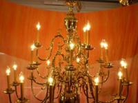 21 Light, Finished Polished Brass Chandelier in great