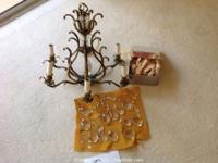 small brass and crystal chandelier, untested WILL SELL