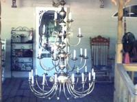 This beautiful Brass Chandelier is 5 foot tall not